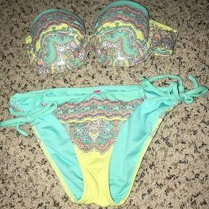 Victoria secret 32A bikini top turquoise & yellow